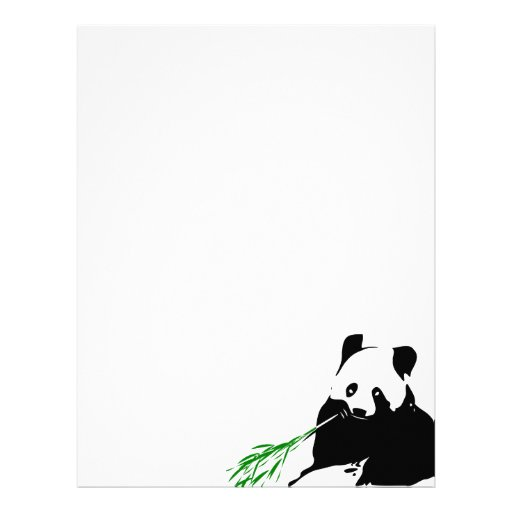 Panda eating Bamboo Letterhead Template
