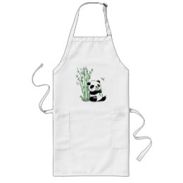 Panda Eating Bamboo Long Apron