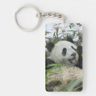 Panda eating bamboo on snow, Wolong, Sichuan, Keychain
