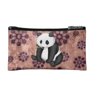 Panda Eating Bamboo On Vintage Background Makeup Bags