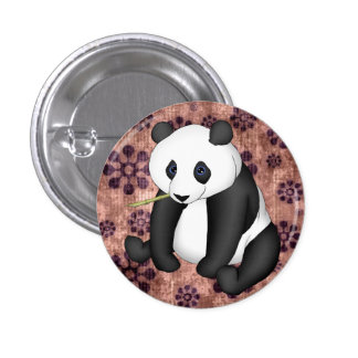 Panda Eating Bamboo On Vintage Background Pins
