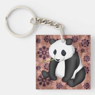 Panda Eating Bamboo On Vintage Background Double-Sided Square Acrylic Keychain