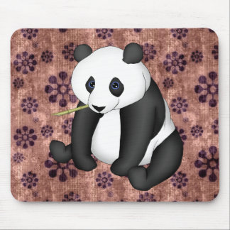 Panda Eating Bamboo On Vintage Background Mouse Pad