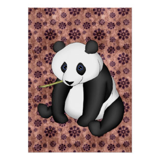Panda Eating Bamboo On Vintage Background Poster
