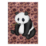 Panda Eating Bamboo On Vintage Background Posters