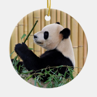 Panda Eating Bamboo Double-Sided Ceramic Round Christmas Ornament