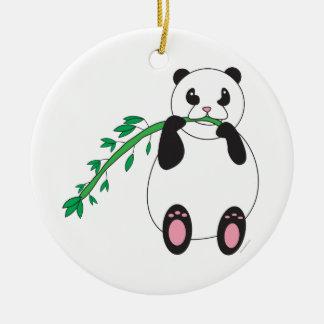 Panda Eating Bamboo Ornament