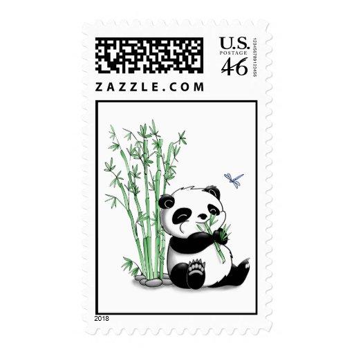 Panda Eating Bamboo Postage Stamp