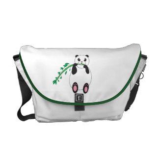 Panda Eating Bamboo Rickshaw Messenger Bag