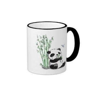 Panda Eating Bamboo Ringer Coffee Mug