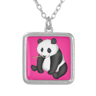Panda Eating Bamboo Square Pendant Necklace