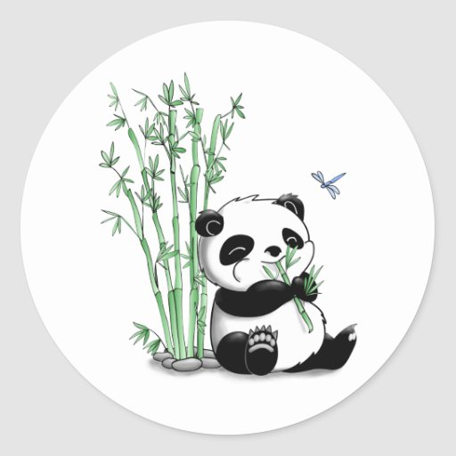 Panda Eating Bamboo Round Stickers