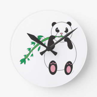 Panda Eating Bamboo Wall Clock