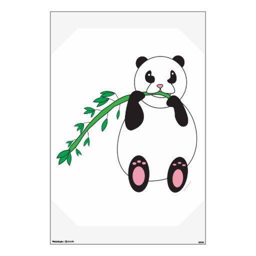 Panda Eating Bamboo Wall Decal