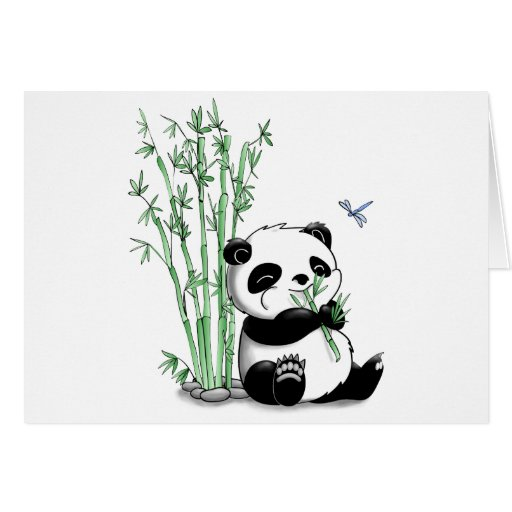 Panda Eating Bamboo (with customizable background) Card