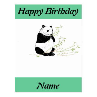 Panda Eating on Birthday Card