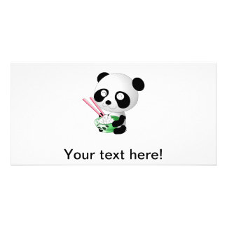 Panda eating rice cartoon photo greeting card
