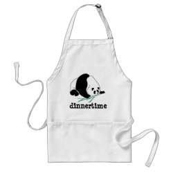 Panda Eats Bamboo In Tropical Forest Apron apron