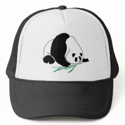 Panda Eats Bamboo In Tropical Forest Hat hat