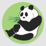 Panda Eats Bamboo In Tropical Forest Sticker Tag