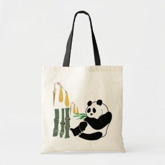 Panda Eats Bamboo In Tropical Forest Tote Bag