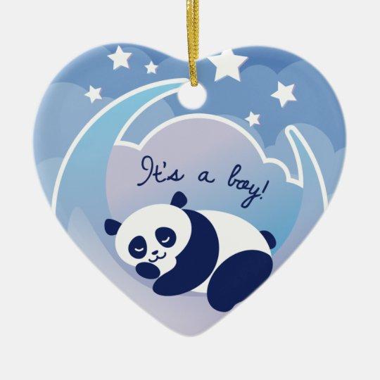 """Panda el dormir """"su ornamento de un muchacho"""" adorno navideño de cerámica en forma de corazón"""