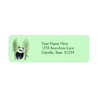 Panda en bambú etiqueta de remite