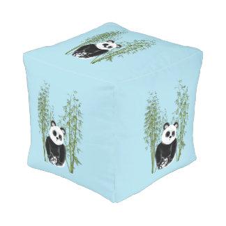 Panda en bambú pouf cuadrado