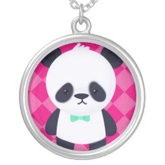 Panda en fondo rosado fresco colgante redondo