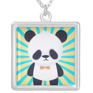Panda en Starburst azul y amarillo Colgante Cuadrado
