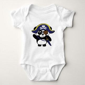 Panda en traje del pirata de los azules marinos body para bebé