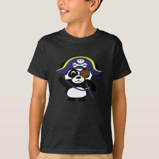 Panda en traje del pirata de los azules marinos playera