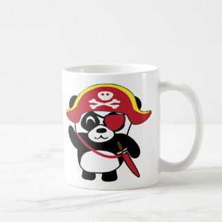 Panda en traje rojo del pirata taza de café