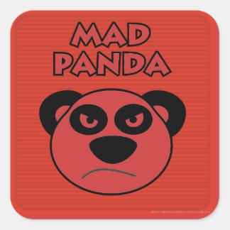 Panda enojada pegatinas cuadradas