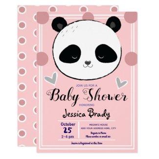 Panda Face and Pink Polka Dots Baby Shower Invitation