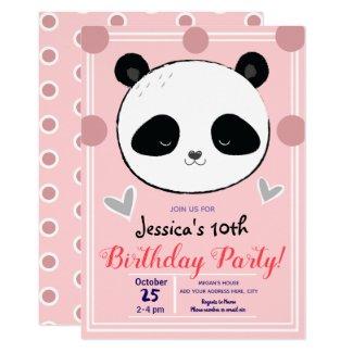 Panda Face and Pink Polka Dots Birthday Party Invitation