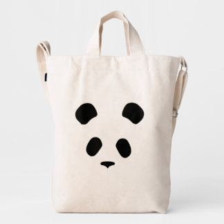 Panda face black and white duck canvas bag