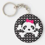 Panda Face & Crossbones Keychain