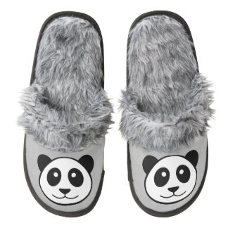 Panda Face Pair Of Fuzzy Slippers