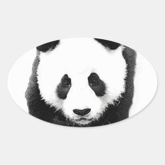 Panda Face Oval Sticker