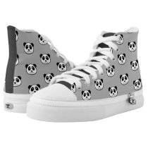 Panda Face Pattern High-Top Sneakers