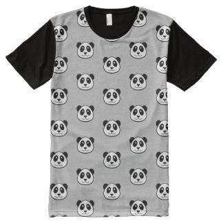 Panda Face Pattern All-Over Print T-shirt