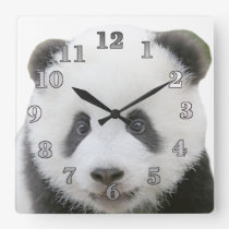 Panda Face Square Wall Clock