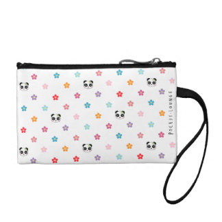 Panda faces and flower print coin purse