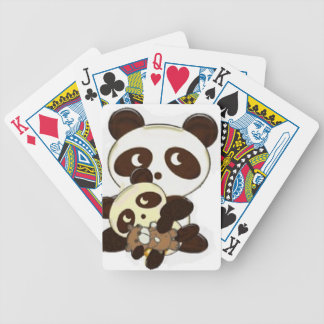 panda family bicycle playing cards