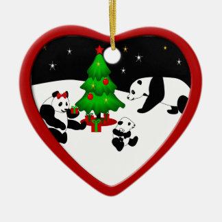 Panda Family Christmas Ornament