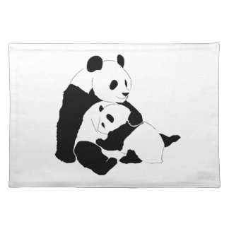 Panda family Hugging Design Custom Placemat