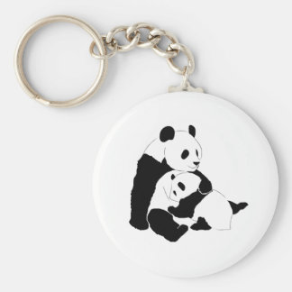 Panda Family Basic Round Button Keychain