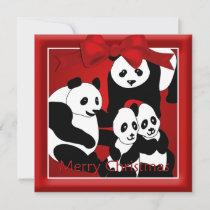 Panda Family of Four  Christmas Greeting Holiday Card