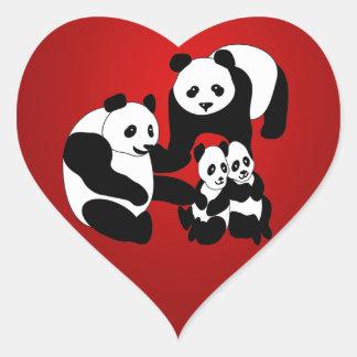 Panda Family of Four Christmas Heart Sticker